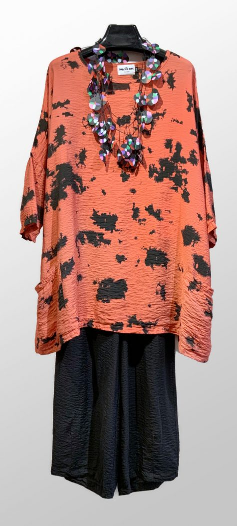 Motion parachute rayon 2-pocket tunic with an inkblot print, over Motion parachute rayon darted pants.
