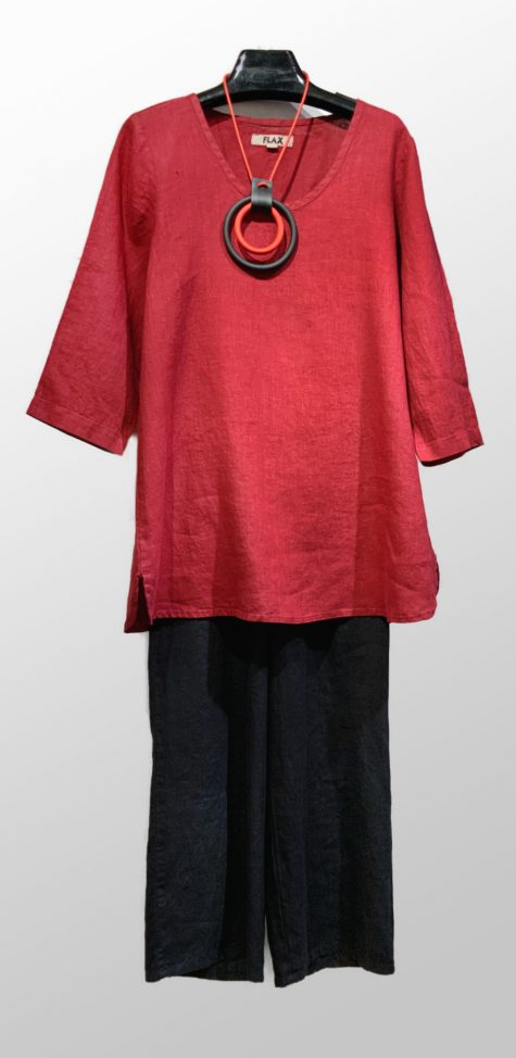 Flax 3/4 sleeve linen tunic, over Flax floods in black.