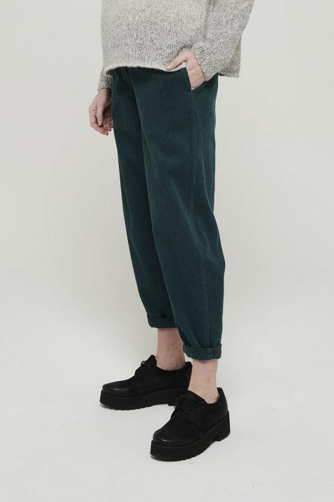 Mes Soeurs et Moi wide-wale corduroy pants in Pine green.
