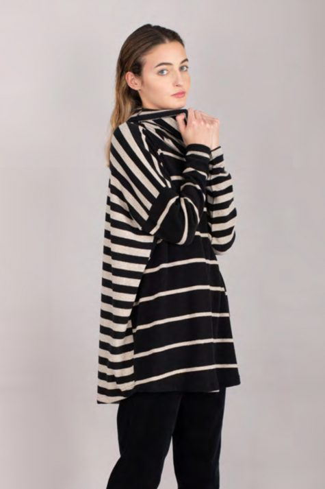 Mama B cozy knit cowl sweater with mixed stripes.