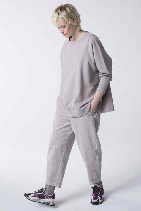 Ischiko by Oska french terry pullover, over Ischiko wide-wale corduroy trousers.