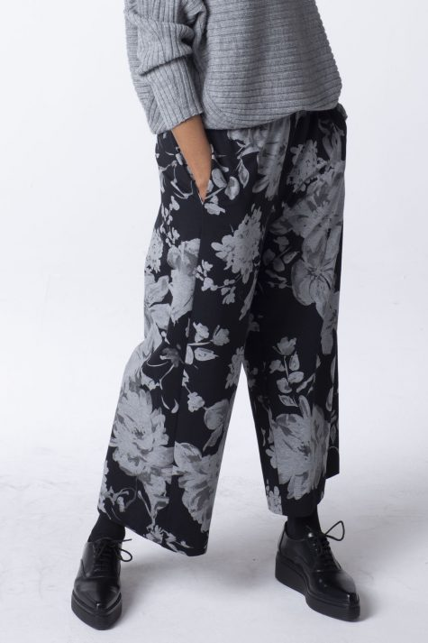 Oska cotton french terry wide-leg pants in floral print.