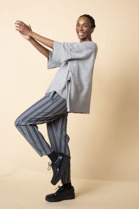 Oska boiled wool knit shirt, over Oska cotton striped trousers.