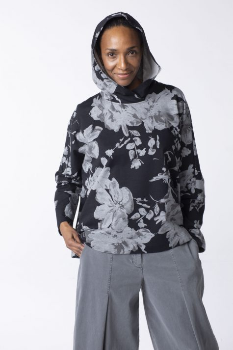 Oska cotton french terry boxy hoodie in floral print.