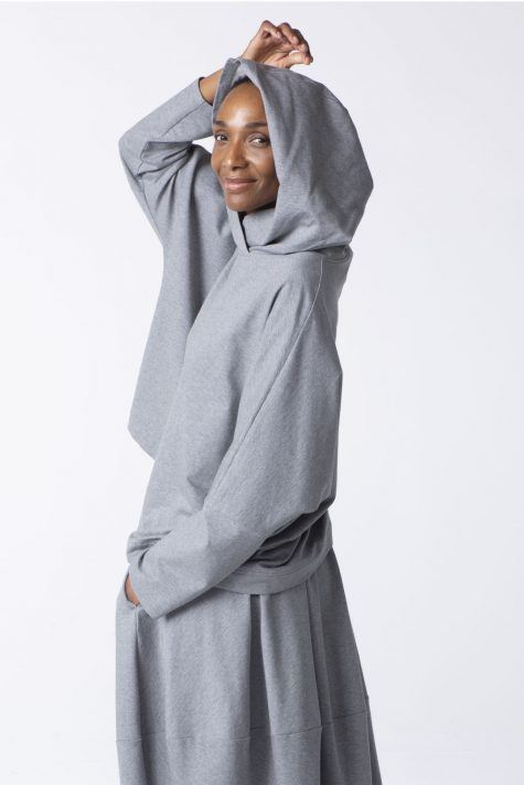 Oska cotton french terry boxy hoodie in silver grey.