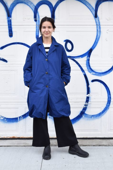 Mycra Pac bubble-shaped raincoat. Available in Royal Blue.