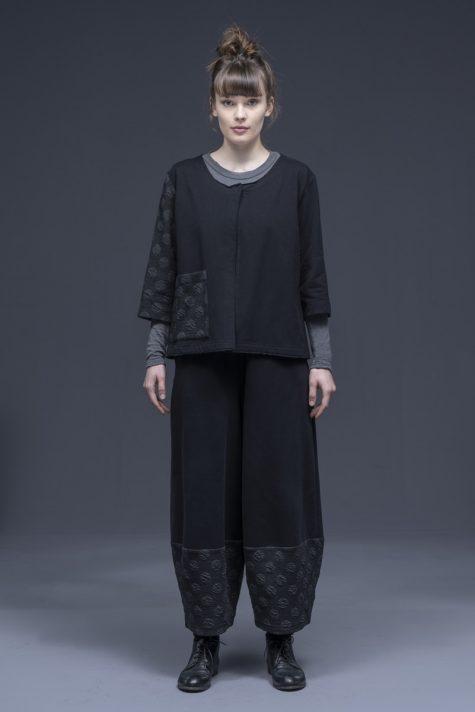 Neirami fleece-lined one-button cardigan, over Neirami fleece bubble pants.