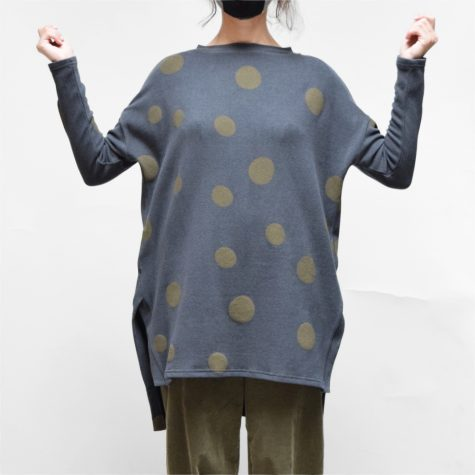 Neirami coy knit relaxed tunic with dot print.