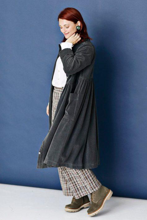 McVerdi cotton corduroy coat-dress.