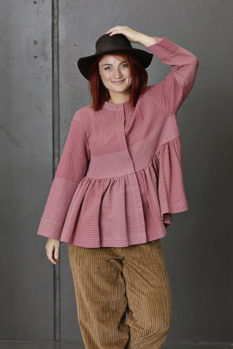 McVerdi pink seersucker jacket blouse.