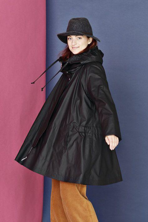 McVerdi A-line hooded raincoat with a warm fleece lining.