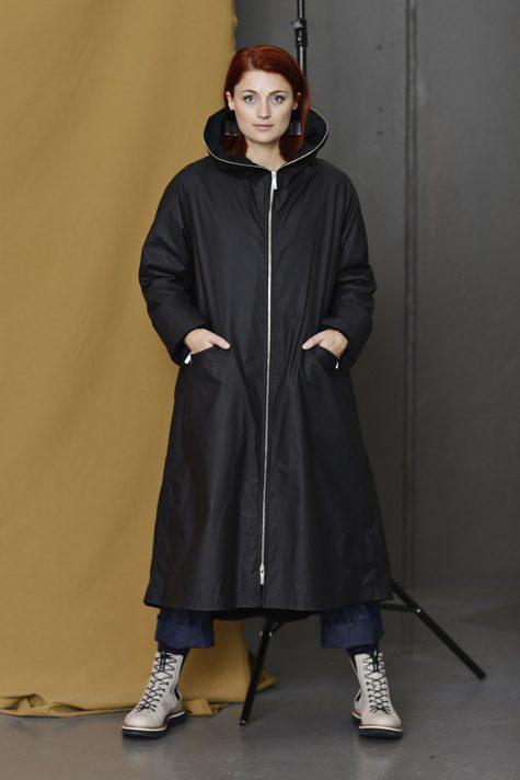 McVerdi long hooded raincoat with warm fleece lining.