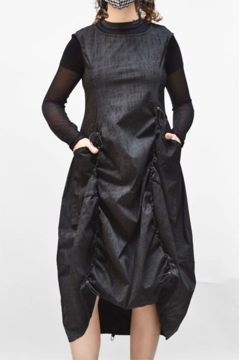 Rundholz Black Label technical stretch bubble dress with drawstring seams. Layered with a Black Label 100% cotton mesh tee.