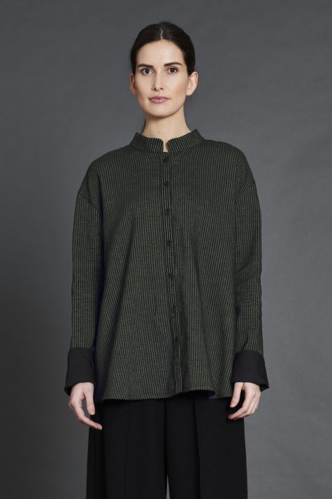 Elemente Clemente cotton blend blouse with a textured stripe and contrast cuffs.