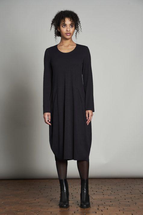 Elemente Clemente technical knit bubble dress with a pinstripe texture.