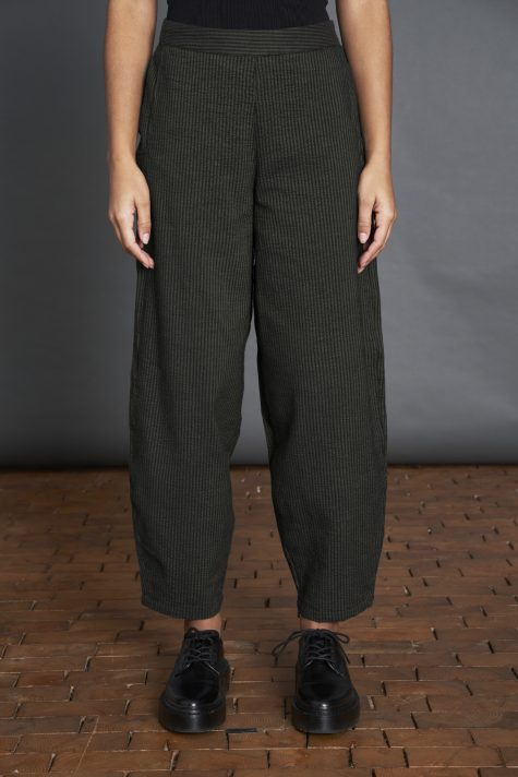 Elemente Clemente cotton blend relaxed-leg trousers with a textured stripe.