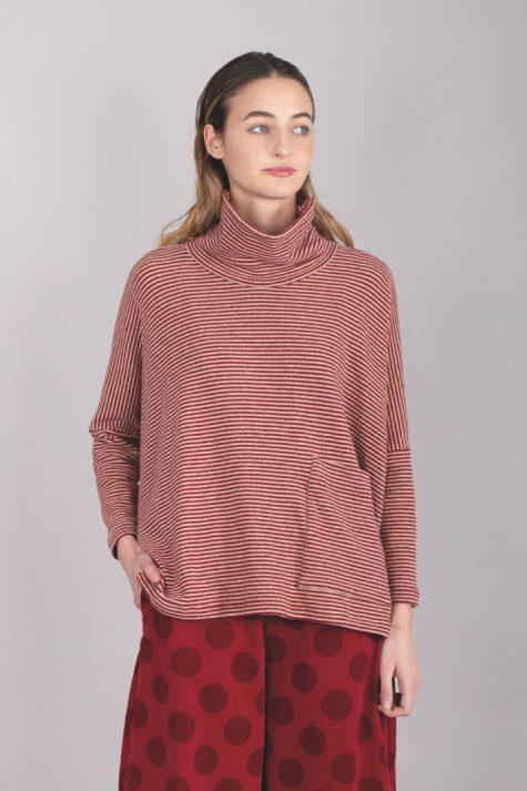 Mama B cozy knit boxy turtleneck top.
