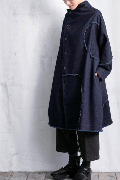 Moyuru raw-edge dark denim coat.