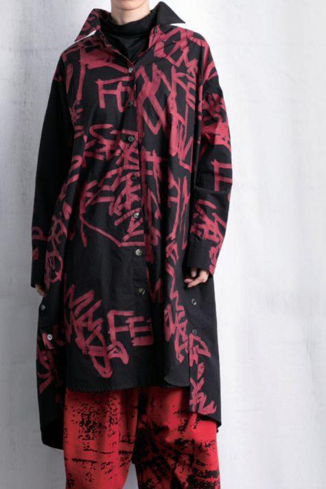Moyuru screen printed cotton shirtdress.