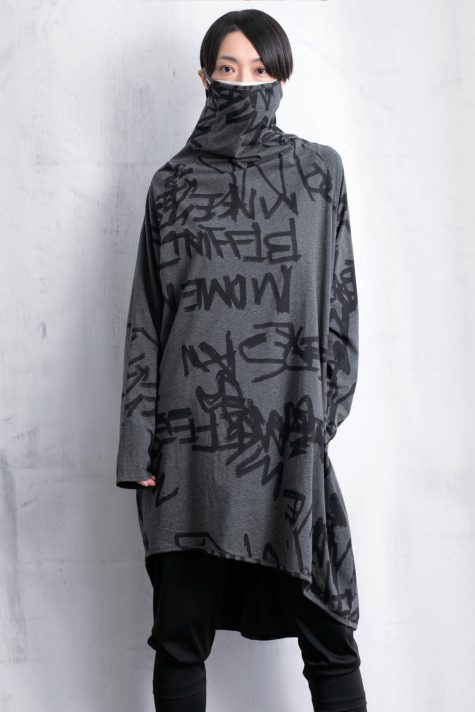 Moyuru sketch printed cotton tunic with built-in mask.