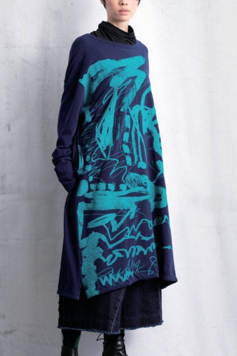 Moyuru printed french terry dress.