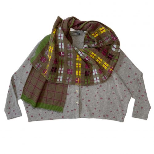 Neirami cozy knit boxy cardigan, paired with a Catherine Andre merino wool scarf, knit in France.