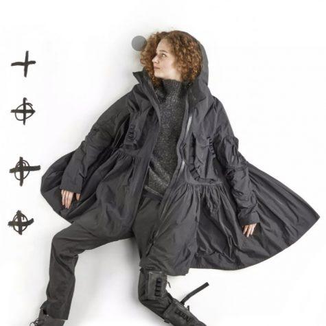 Rundholz Black Label hooded windbreaker, over a Black Label wooly turtleneck pullover.
