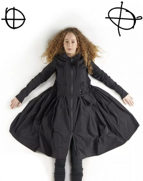 Rundholz Black Label french terry coat dress with a full skirt in memory fabric.