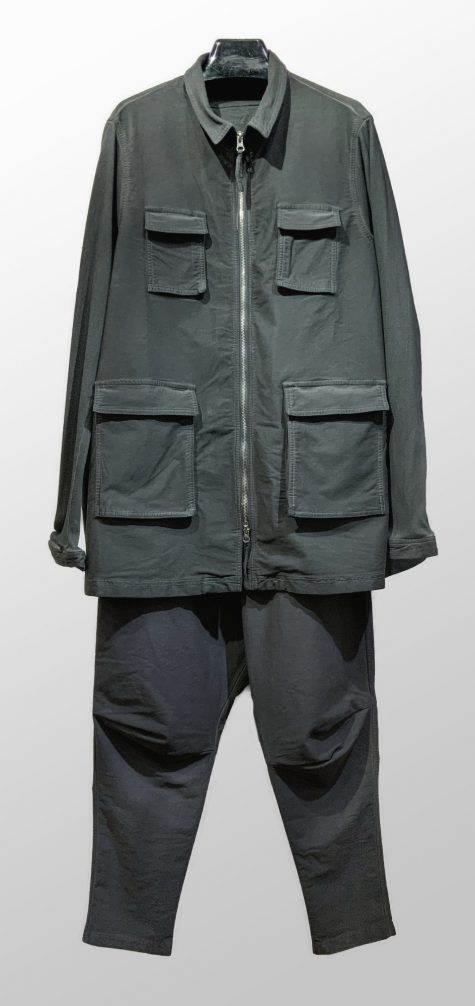 Rundholz Black Label twill jacket with knit sleeves, over Black Label drop-rise twill pants with a drawstring waistband.