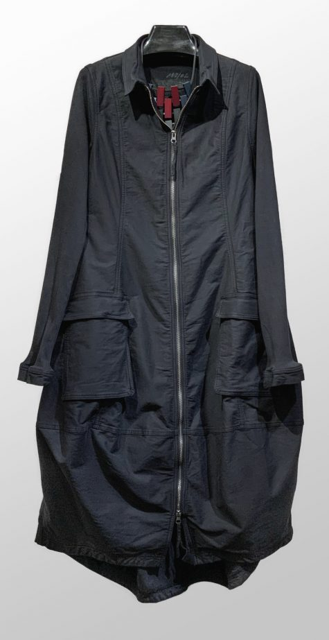 Rundholz Black Label twill coat dress with knit sleeves and yoke.