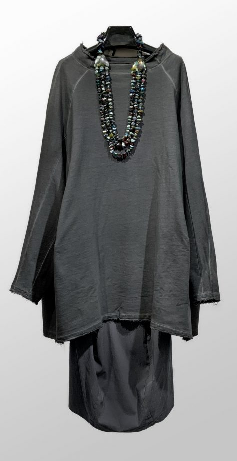Rundholz Black Label oversize french terry tunic-dress, over a Black Label technical stretch pencil skirt.