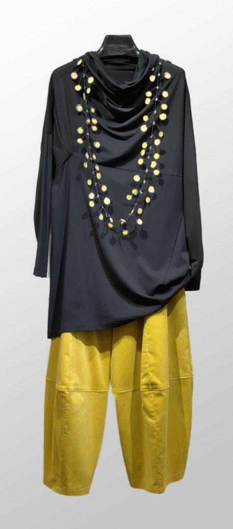 Moyuru cotton knit draped turtleneck, over Motion corduroy bubble pants in yellow.