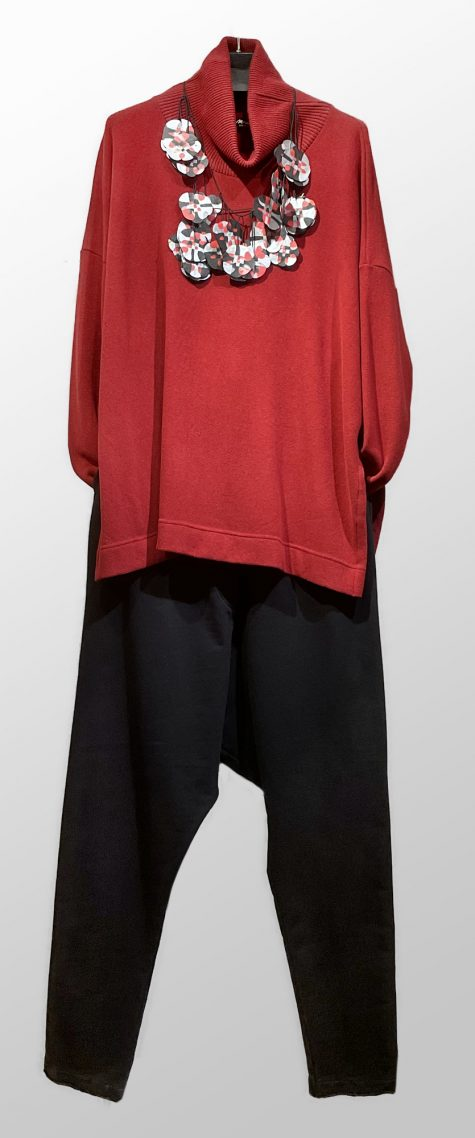 Mama B cozy knit ribbed turtleneck, over Rundholz Black Label french terry drop-rise pants.