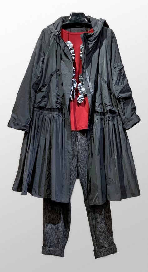 Rundholz Black Label windbreaker coat, over a Mama B cotton knit tee, and Elemente Clemente nailhead check tapered pants.