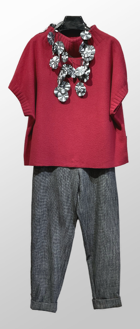 Elemente Clemente boiled wool pullover, over Elemente Clemente tapered pants in nailhead check.