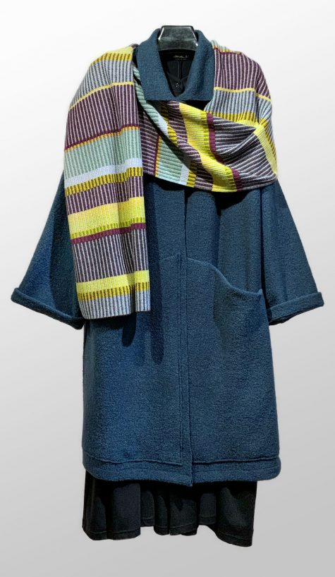 Elemente Clemente boiled wool fall coat, paired with a Catherine Andre merino wool scarf, knit in France.