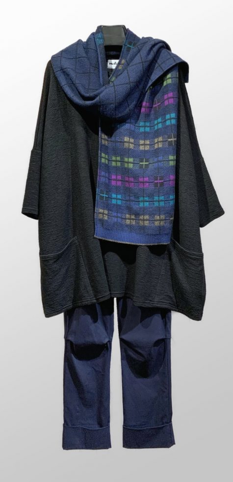 Motion crimped knit two-pocket tunic, over Vespa pants in Oxford blue. Paired with a Catherine Andre merino wool scarf, knit in France.