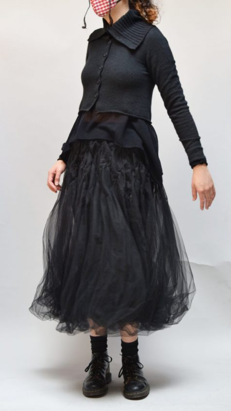 Rundholz Black Label cozy wool blend cropped cardigan, over a Black Label 100% cotton mesh tee, and a Black Label crinoline skirt.