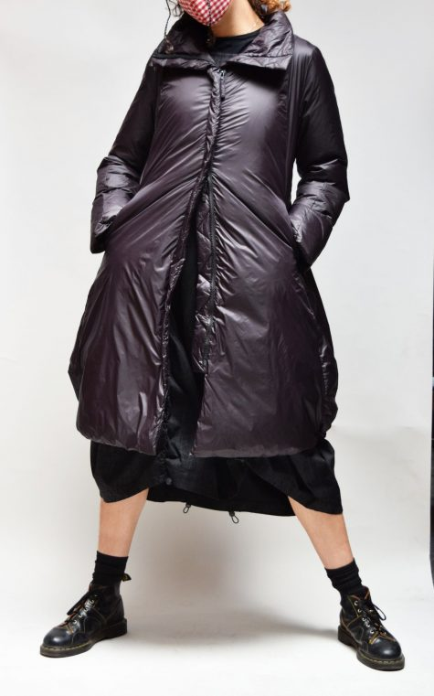 Rundholz Black Label long A-line down puffer, over a Black Label bubble dress.