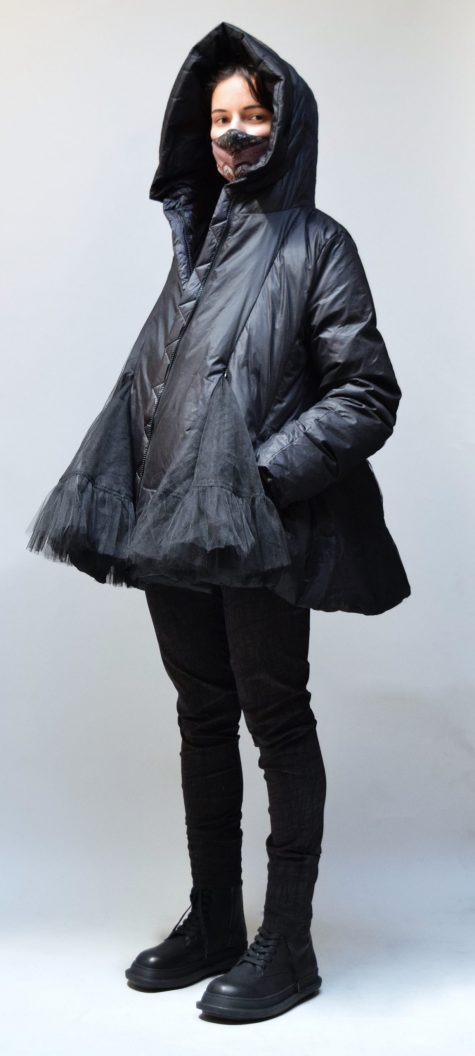 Rundholz Black Label A-line down puffer coat, with a tulle shell and flounces. Over Black Label technical stretch leggings.